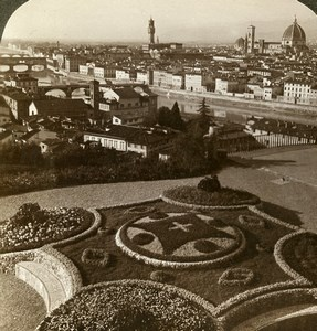 Italy Florence Firenze viewed from San Miniato Stereoview Photo Underwood 1900