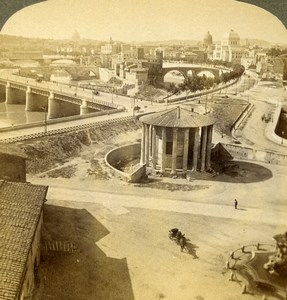 Italy Roma Rome Panorama Ancient Tiber Old Stereoview Photo Underwood 1900