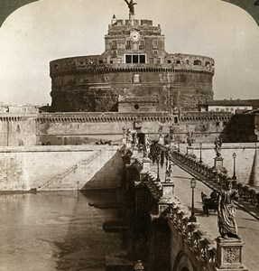Italy Rome Roma Castel Sant'Angelo Bridge Old Stereoview Photo Underwood 1900
