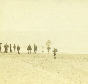 France French Riviera Beach Scene Old Amateur Stereoview Photo Pourtoy 1900