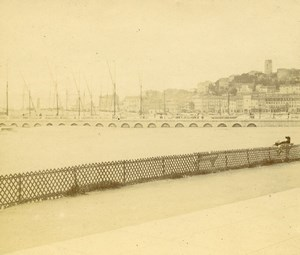 France French Riviera Seaside Old Amateur Stereoview Photo Pourtoy 1900