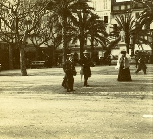 France French Riviera Belle Epoque Fashion Amateur Stereoview Photo Pourtoy 1900