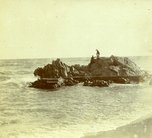 France French Riviera Seaside Rock Old Amateur Stereoview Photo Pourtoy 1900
