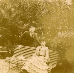 France French Riviera Couple Garden Old Amateur Stereoview Photo Pourtoy 1900