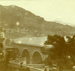 France French Riviera around Nice Railway Amateur Stereoview Photo Pourtoy 1900