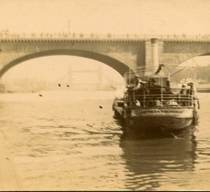 London Paddle Steamer Empress Frederick Amateur Stereoview Photo Pourtoy 1900
