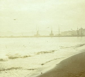 France French Riviera around Nice Ship Old Amateur Stereoview Photo Pourtoy 1900