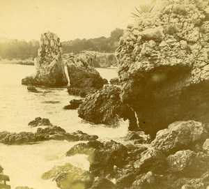 France French Riviera around Nice Rocks Amateur Stereoview Photo Pourtoy 1900