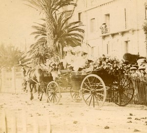 France French Riviera around Nice Horse Amateur Stereoview Photo Pourtoy 1900