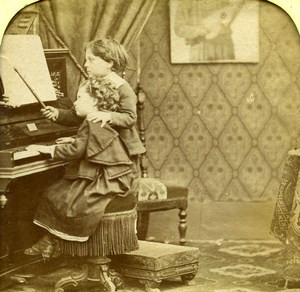 France Children at Piano Scene de Genre Old LL Photo Stereoview Tissue 1865