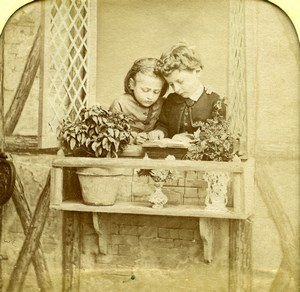 France Children Reading Scene de Genre Old LL Photo Stereoview Tissue 1865