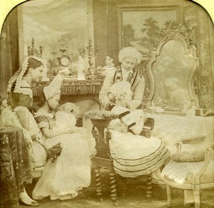 France Children Costume Party Scene de Genre Old Photo Stereoview Tissue 1865