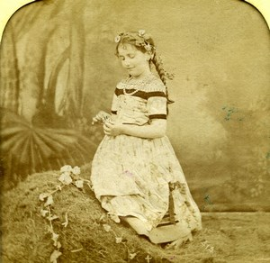 France Young Girl Scene de Genre Old LL Photo Stereoview Tissue 1865