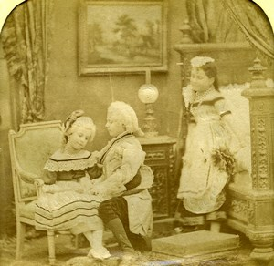 France Children Costume Party Scene de Genre Old LL Photo Stereoview Tissue 1865