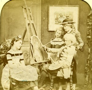 France Painter Children Scene de Genre Old LL Photo Stereoview Tissue 1865