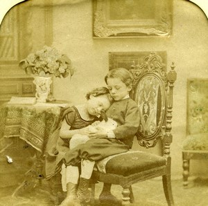 France Children & Pet Rabbit Scene de Genre Old LL Photo Stereoview Tissue 1865