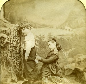 France Sewing Game Children Scene de Genre Old LL Photo Stereoview Tissue 1865