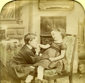 France Hand-Kissing Children Scene de Genre Old LL Photo Stereoview Tissue 1865