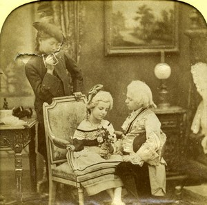 France Costume Party Children Scene de Genre Old LL Photo Stereoview Tissue 1865