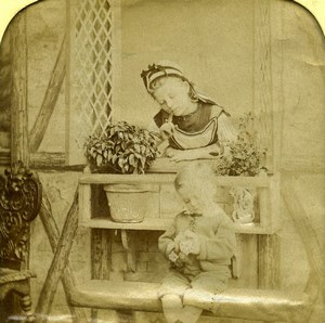 France Flowers Bouquet Children Scene de Genre Old Photo Stereoview Tissue 1865