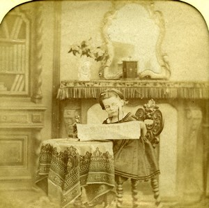 France Reading Newspaper Child Scene de Genre Old Photo Stereoview Tissue 1865