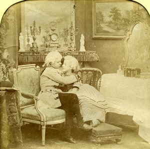 France the Kiss Children Scene de Genre Old LL Photo Stereoview Tissue 1865