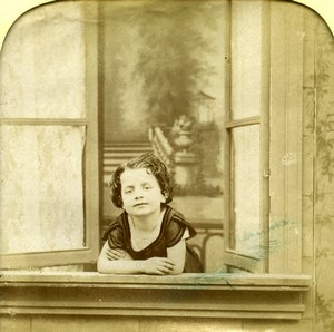 France the Window Child Scene de Genre Old LL Photo Stereoview Tissue 1865