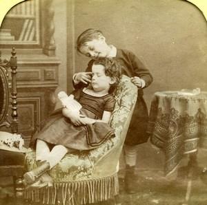 France Children Doll Scene de Genre Old LL Photo Stereoview Tissue 1865