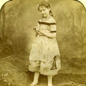 France the Flower Child Scene de Genre Old LL Photo Stereoview Tissue 1865