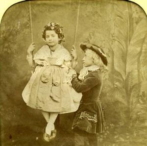France Swing Children Scene de Genre Old LL Photo Stereoview Tissue 1865