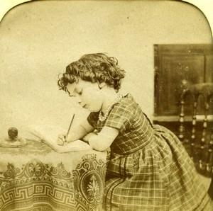 France Girl Writing Scene de Genre Old LL Photo Stereoview Tissue 1865