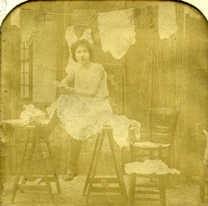 France Paris Erotic Fantasy Risque Chiffonnette BK Photo Stereoview Tissue 1900