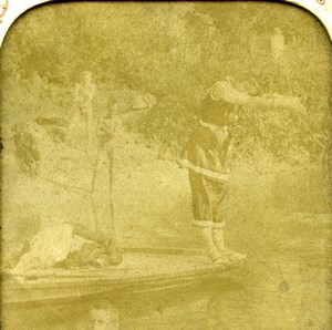 France Paris La Baignade Woman Bather Old LL Photo Stereoview Tissue 1900