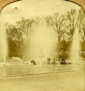 France Versailles Castle Fountain Old GAF Photo Stereoview Tissue 1860