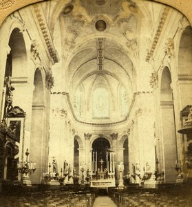 France Paris Saint Sulpice Church Interior Old GAF Photo Stereoview Tissue 1860