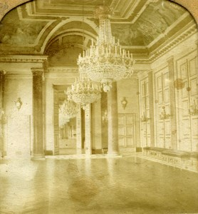 Paris Tuileries Palace Salle des Travees Old GAF Photo Stereoview Tissue 1860