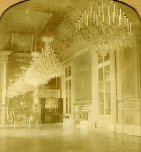 France Paris Tuileries Palace Dining Room Old GAF Stereoview Tissue 1860