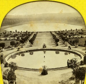 France Versailles Castle Orangerie Swiss Pond Old Lamy Stereoview Tissue 1860