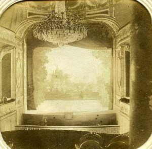 France Fontainebleau Castle Theater Theatre Old Photo Tissue Stereoview 1860