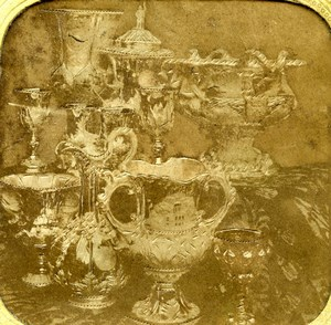 France Paris Silver Vases Old Photo Tissue Stereoview 1860