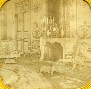 France Paris Elysee Palace Salon Bleu Old Photo Tissue Stereoview 1860