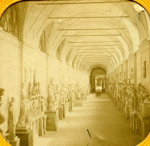 Rome Vatican Museum Chiaramonti Sculptures Old Photo Tissue Stereoview 1860