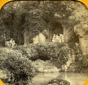 Versailles Trianon Grotte des Bains d'Apollon Old Photo Tissue Stereoview 1860