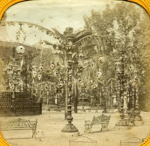 France Paris Bal Mabille Gardens Old Photo Tissue Stereoview 1860
