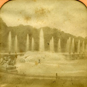 France Versailles Castle Neptune Fountain Dragon Photo Tissue Stereoview BK 1860