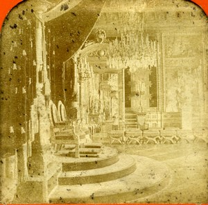 France Paris Tuileries Palace salle du Trone Old Photo Tissue Stereoview BK 1860