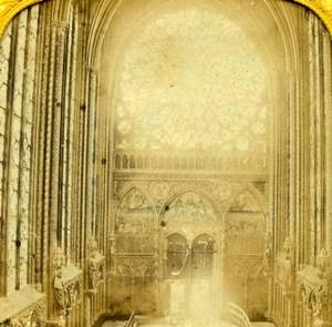 France Paris Sainte Chapelle Holy Chapel Old Photo Tissue Stereoview 1860