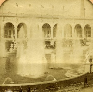 Paris Expo Universelle grande Fontaine Cheminee anciennne Photo Stereo Transparente Young 1900