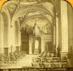 France Paris Palais du Luxembourg Chapelle anciennne Photo Stereo Transparente Martinet 1860