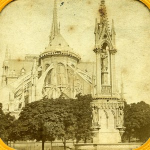 France Paris Cathedrale Notre Dame Cathedral Old Photo Tissue Stereoview 1860